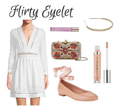 white dress, beaded clutch, floral scent, headband, lace-up flats, concealer
