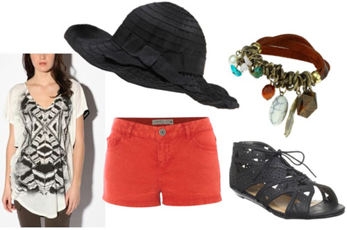 How to wear a floppy hat with coral shorts