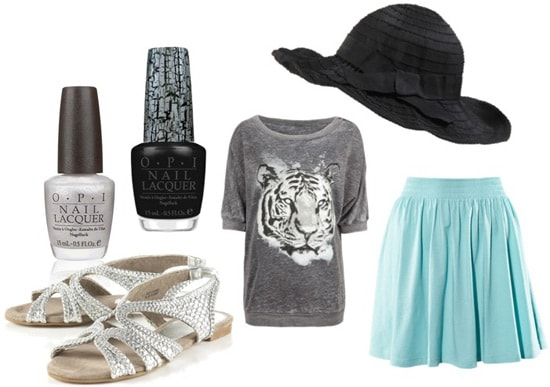 How to wear a floppy hat with a tiger shirt and skirt