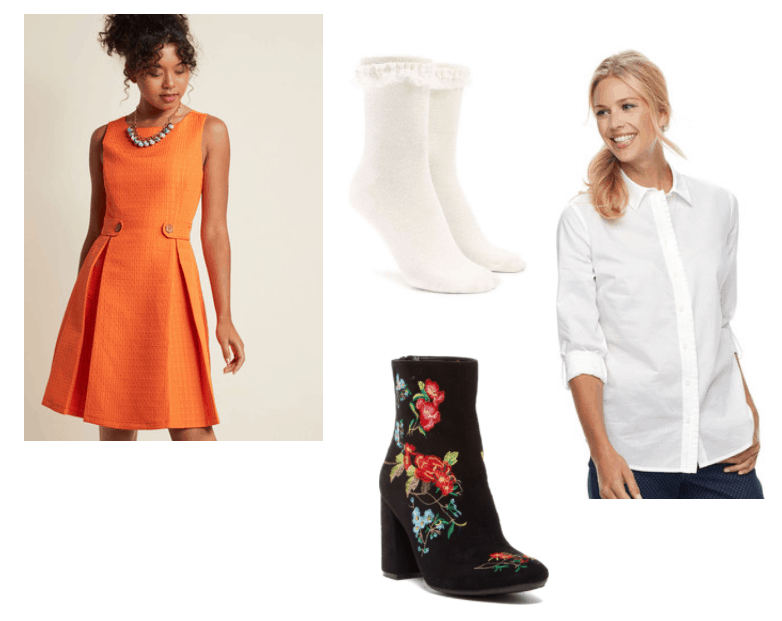 Flora Outfit Inspiration: Orange A-Line dress, white button-up top, embroidered floral booties and ruffle lace crew socks,