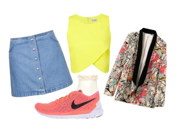 floral and fun sneakers outfit