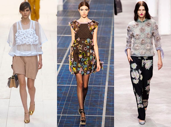 Floral appliques at Chloe, Chanel, and Dries Van Noten Spring 2013