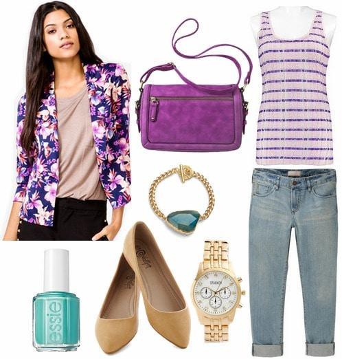 Floral blazer, striped tank, boyfriend jeans, flats