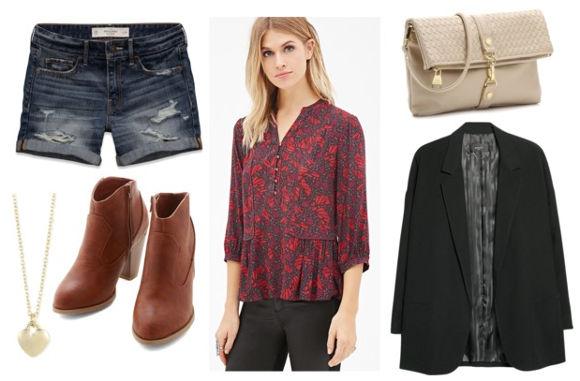 Floral blouse black blazer denim shorts