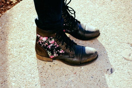 Floral combat boots college footwear trend