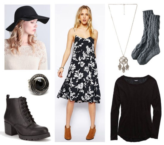 Floral dress black tee hat