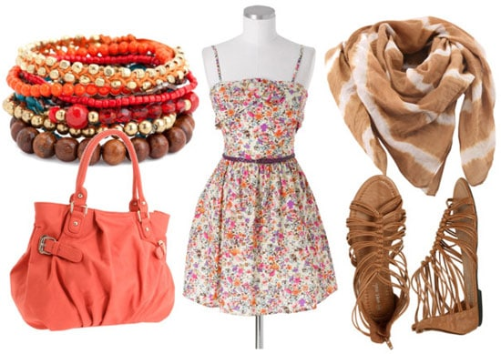How to wear a floral dress for day with a pink tote bag, a tie dye scarf, sandals, and simple bracelets