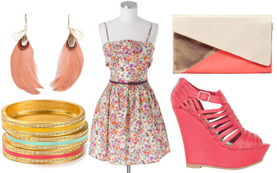 How to wear a floral dress for night with wedges, a color block clutch, bangles, and feather earrings