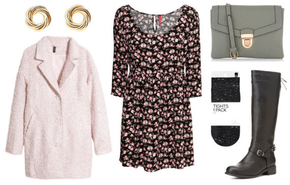 Floral dress pink coat black boots