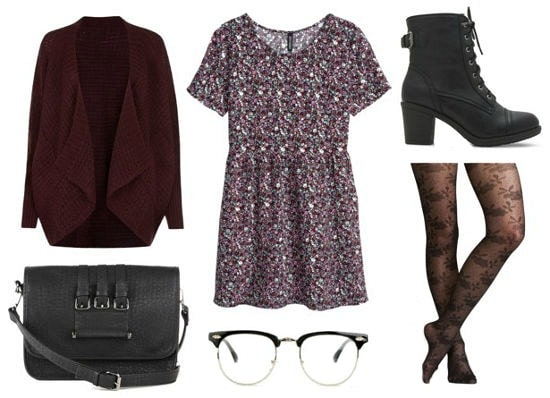 Floral dress + purple draped cardigan outfit