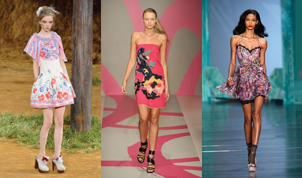 Floral dresses on the runway