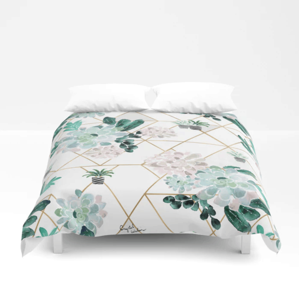 Succulent print duvet cover from Society6