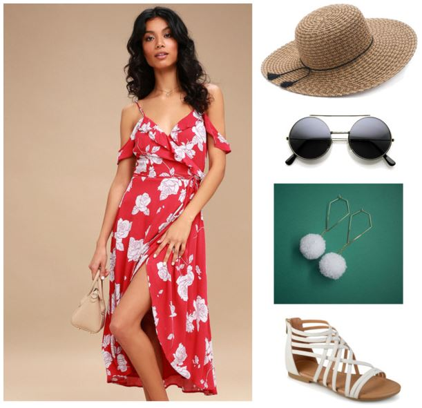 Get Inspired by Santa Fean, Alyssa: floral red dress, braided floppy hat, retro circle glasses, white gold chain pompom earrings; white gladiator sandals