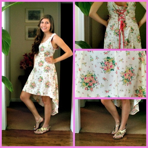 Floral high low dress outfit