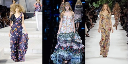 Long floral dresses by Marc Jacobs, D&G, and Stella McCartney on the Spring 2008 Ready To Wear Runways