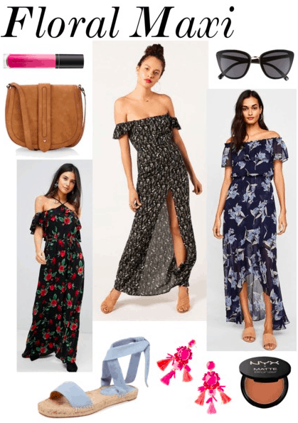 Lip gloss, suede bag, 3 floral off shoulder maxi dresses, blue suede sandals, tassel earrings, sunglasses, bronzer