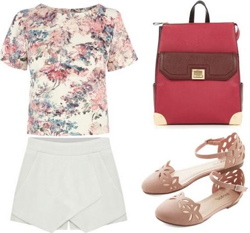 Floral neoprene top, skort, ankle strap flats, and backpack
