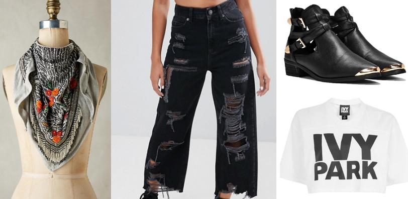 Spring outfit idea: Edgy floral scarf, ripped jeans, cropped tee shirt, metal toe ankle booties