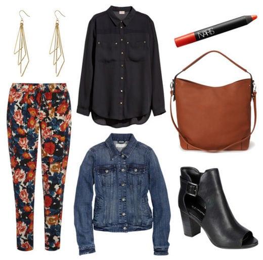 Floral pants denim jacket black blouse