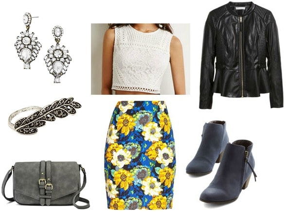 Floral pencil skirt night out