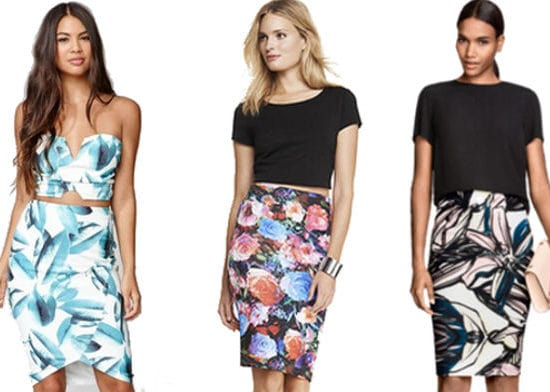3 Floral Pencil Skirts