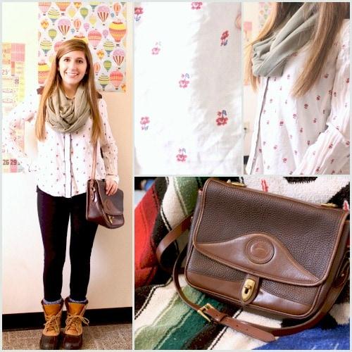 Floral print blouse scarf bean boots