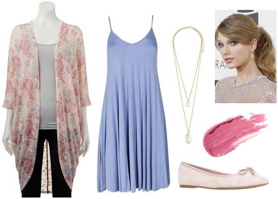 Floral print cardigan, blue dress, flats