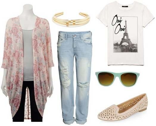 Floral print cardigan, graphic tee, boyfriend jeans