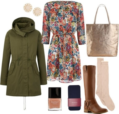 How to wear a floral print dress to class with a parka, boots, boot socks, and earrings