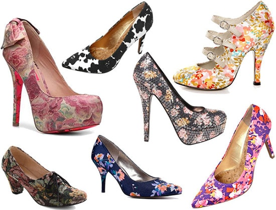 Floral print pumps