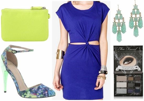 Floral pumps, blue dress, citron clutch, mint earrings