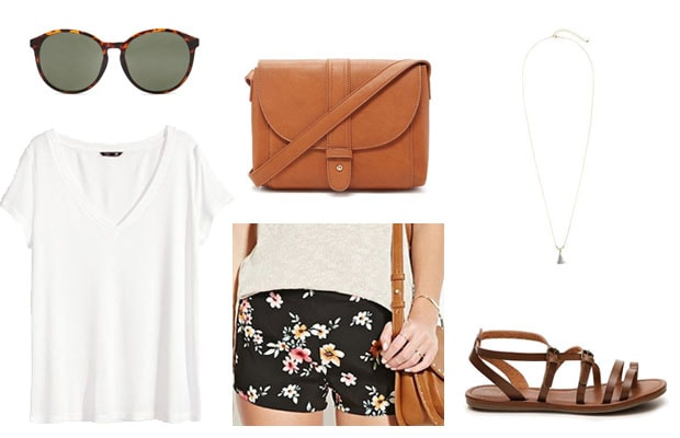 Floral shorts casual spring date outfit