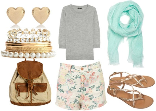 How to wear floral shorts for day with a gray knit sweater, mint scarf, gold sandals, canvas backpack, pearl gold bangles, and heart gold studs
