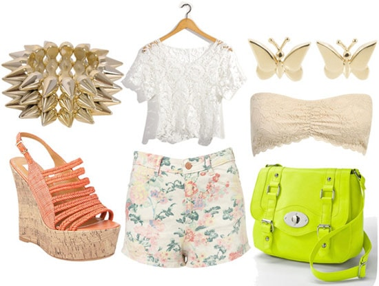 How to wear floral shorts for night with a lace crop top, beige lace bandeau, neon cross body bag, orange wedges, a spike cuff, and butterfly studs