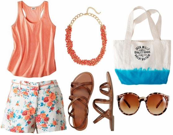 Floral shorts, peach tank, sandals, statement necklace