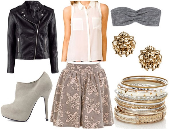 How to wear a floral skater skirt for a night out