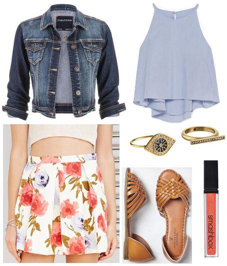 floral skirt, blue top, denim jacket