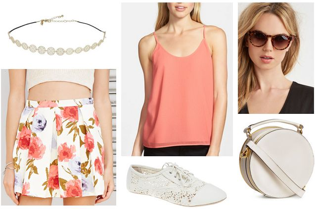 floral skirt, coral top, lace oxfords