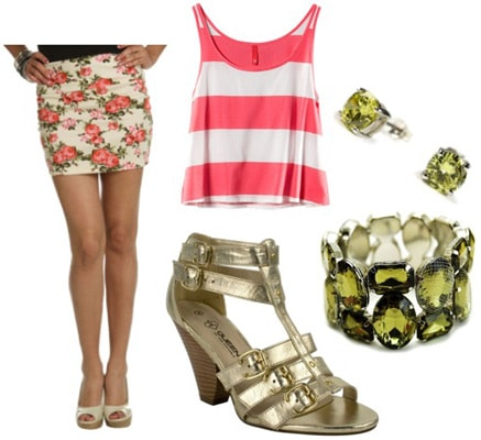How to wear a floral skirt with gold heels and bright pieces