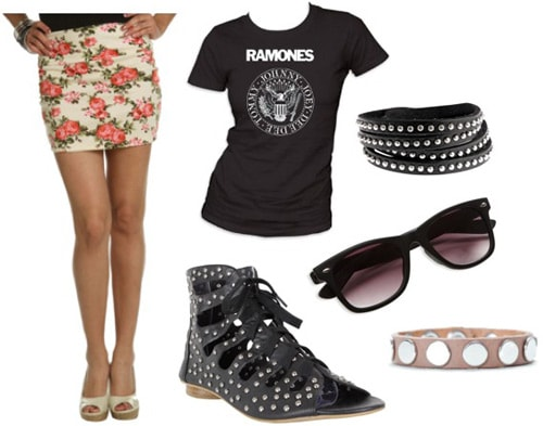 How to wear a floral skirt with a band tee and studded accessories