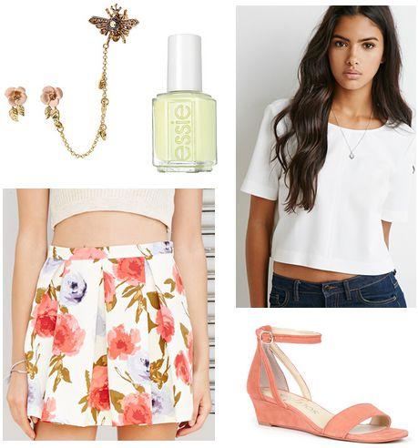 floral skirt, white blouse, wedges