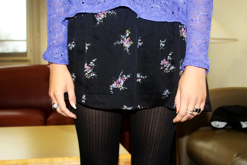 Floral dress and ribbed tights