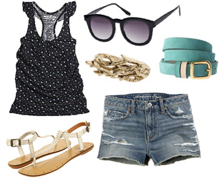 How to wear a floral tank with denim shorts and simple sandals