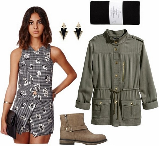 Floral top and skort, utility jacket, and booties