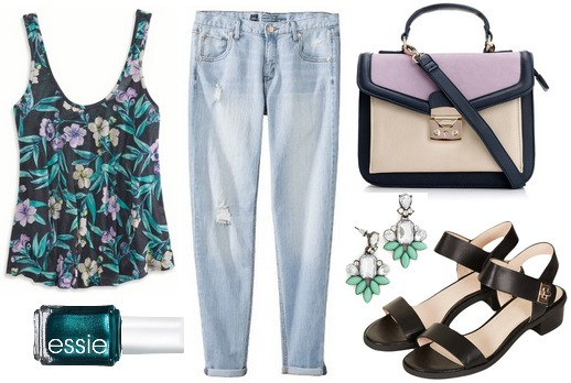 Floral top, boyfriend jeans, sandals, lilac bag, teal nail polish