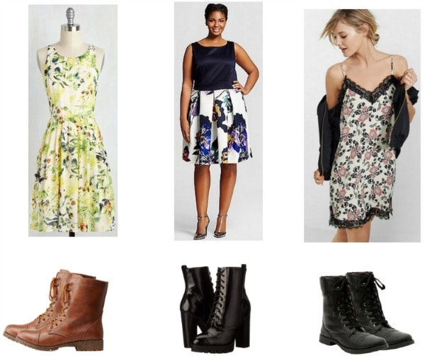 floral dresses paired with combat boots