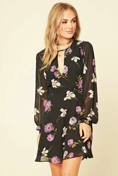 Forever 21`black, white, and purple floral dress