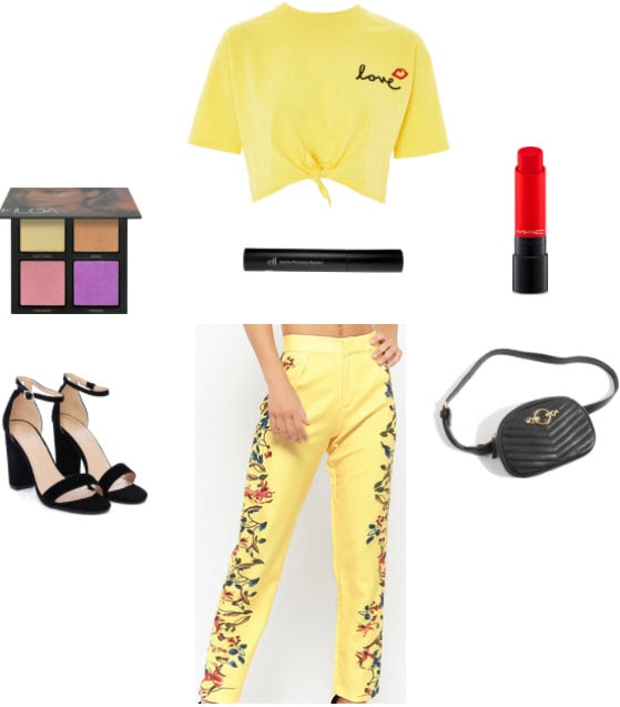 Yellow floral pants with yellow knot crop top, red lipstick, huda beauty summer solstice, black heels, black mascara, and black quilted fanny pack.