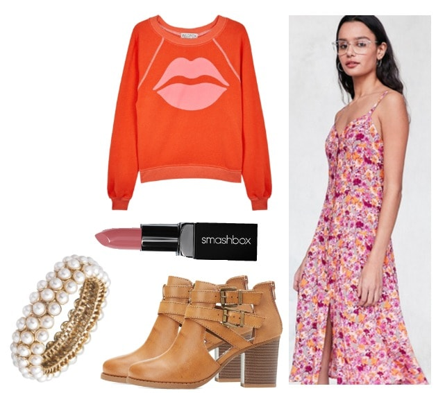 Floral slipdress outfit