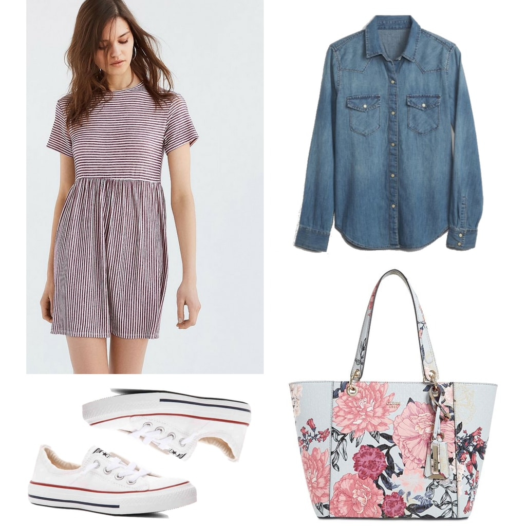 Florals and stripes outfit for the Fourth of July: Striped mini dress, chambray shirt, floral tote bag, converse sneakers